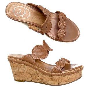 JACK ROGERS Brown Platform Wedge Sandals Size 6.5
